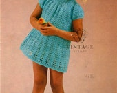 INSTANT DOWNLOAD under a dollar-cute baby dress vintage crochet pattern-pdf email delivery
