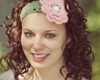 Wide Lace Headband with Crochet Flower, Feminine Comfort Hair Band