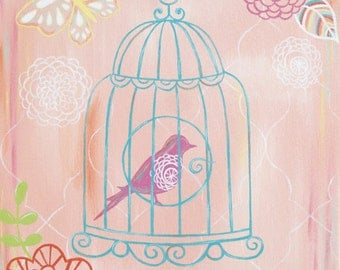 Childrens Art Print - Sherbet Crush Melon 8x10 - birdcage, girl, flower, bird, nursery wall decor