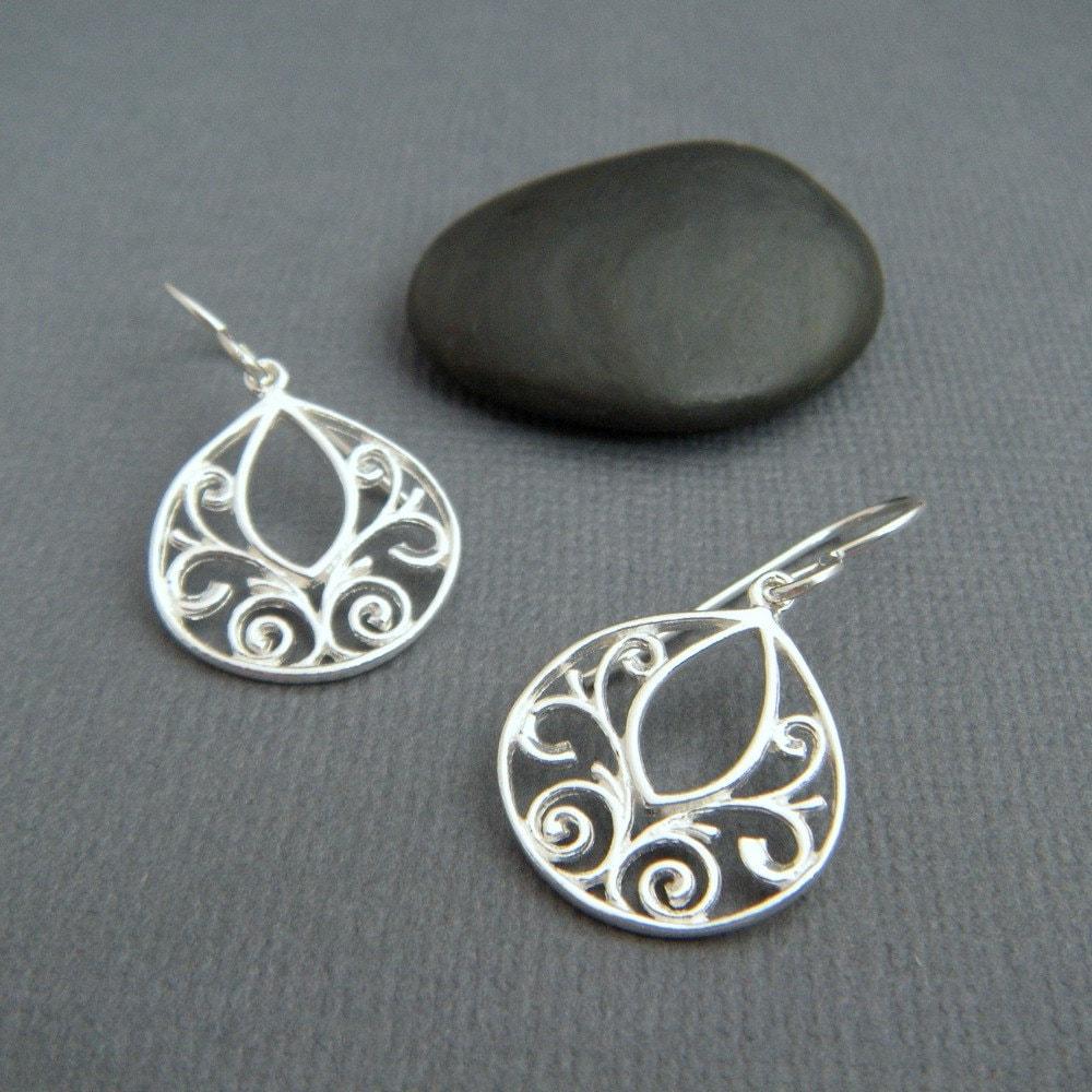 Silver Teardrop Earrings Filigree Jewelry Sterling Silver
