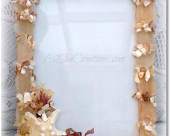 Seaglass Photo Frame - Beach Wedding Gift, Beach Cottage Decor