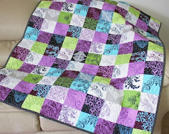 Quilted Throw for Spring and Easter in Radiant Orchid, Spring Green, Aqua Blue - City Block fabric by Kitty Yoshida, Sofa Throw, Lap Quilt