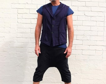 Men's Royal Blue Hoodie Waistcoat- Size large. Raw edges, exposed seams and hand made buttons. Handmade.