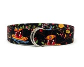 Oriental Ming Black Toile Fabric Belt in Custom Sizes Small Medium or Large Preppy D Rings Women's Belt 1.5 inch Width