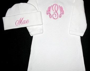Master Circle Font - Custom Personalized 3 INITIAL Monogram and NAME Infant Gown and Hat Set - You Choose Thread Color