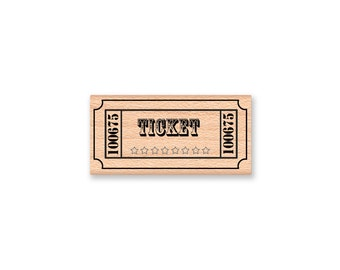 TICKET STAMP- wood mounted rubber stamp-#41-16