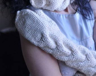 2 in 1 COMBO Perfect Connection handknit chunky texture neckwarmer and long full hand gloves mittens SET cream white or Choose Your Color