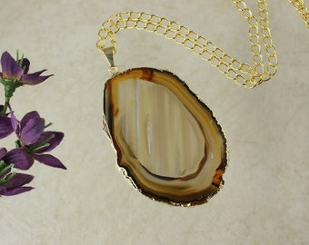Brown Agate Pendant, Agate Necklace, Crystal Agate Slice, Agate Slice, Gold Plated Agate, APS49
