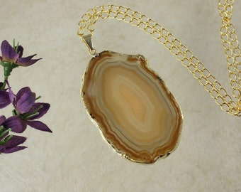 Brown Agate Pendant, Agate Necklace, Crystal Agate Slice, Agate Slice, Gold Plated Agate, APS53