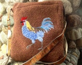Blue Hen Rooster on Chestnut Brown Felted Wool Messenger Bag , Chicken Cross Body Purse Handmade in the USA by Rosy Toes Designs
