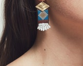 Lace earrings - Oaxaca - White lace with brass & najavo weave