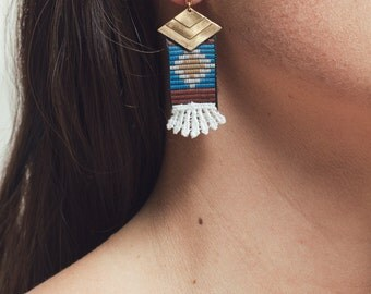 Lace earrings - OAXACA - White lace with brass and navajo weave