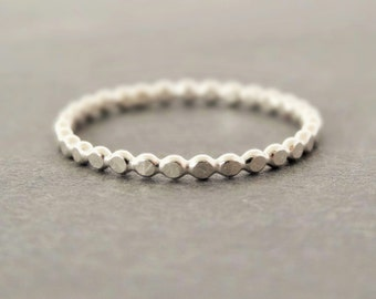 Sterling Silver Ring hammered Thumb Ring Flat Bubble Ring Stacking Ring stack ring