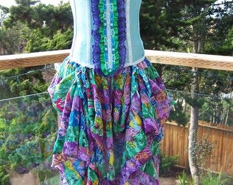 Party Dress, Spring Break, Festival Dress, Strapless Dress, Gypsy Antoinette, size S / M, size 34