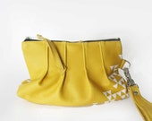PLEATED CLUTCH - pleated leather clutch - custom leather bag - small purse - yellow bag - triangle purse - leather handbag - anytime clutch