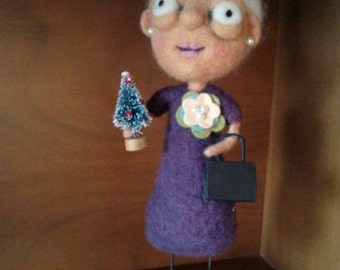 CHRISTMAS Granny OOAK Art Doll
