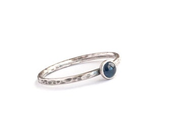 Plumeria - Blue Sapphire and Oxidized Micro Faceted Sterling Silver Stack Ring