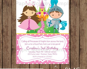 Custom Printed Princess and Knight Birthday Invitations - 1.00 each with envelope