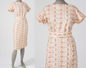 1950s Embroidered Wiggle Dress: White Linen, Orange & Gold Floral Medallion Filigree, Mid Century, Day Dress, Cocktail Party