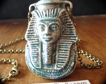 King Tut Necklace Blue Raku Ceramic Bottle Necklace Egyptian Theme Necklace Antiqued Brass Rolo Chain Handcrafted Jewelry