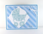 Baby boy card, new baby, baby card,  baby carriage, pram, congratulations, blue and white