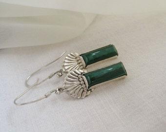 Malachite Earrings Green Semi Precious Gemstone and Sterling Silver Art Deco Style Drop Earrings by Joyousworld