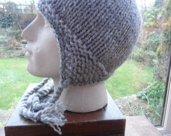 THREE GREYS gray pure wool hat  LARGE L knit ear flap toque chullo unique creation by irish granny