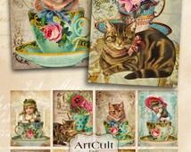 Printable download CAT LOVERS Digital Collage Sheet Gift tags Jewelry holders Vintage Ephemera Paper Craft scrapbooking decoupage ArtCult