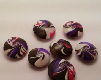 SALE 50% OFF- Handmade Polymer Clay Lentil Swirl Beads-White, Black, Pink & Purple