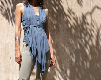 Summer wrap top- The endless Triangular vest-Tanks- Blue wrap top-Convertible summer top -Made to order