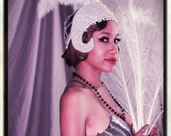 STELLA Silver Ostrich Plume Showgirl Headpiece / Art Deco Revival / Burlesque / Flapper - by Moonshine Baby
