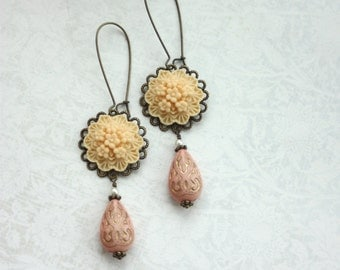 Ivory Floral Bouquet Flower, Soft Pink Gold Ornate Bead Earrings. Bridesmaids Gifts, Bridal Wedding Earrings, Rustic Pink Country Wedding,