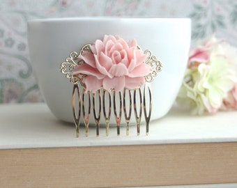 Pink Rose Gold Hair Comb. Gold Rustic Soft Pink Hair Comb. Bridal Comb. Bridesmaids Hair Comb, Bridesmaids Gifts. Pink and Gold Wedding Comb