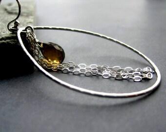 Quartz Earrings - Whiskey Quartz Earrings -  Brown Briolette Gemstone Earrings - Silver Hoop Earrings