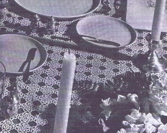 Vintage Tatting PATTERN 9086 72x108 inch Table Cloth & Bread Tray Doily 1940s PDF Instant Download