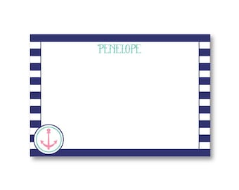 Personalized Stationery Set Rugby Stripe Anchor Thank You Stationery