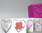 Mini Valentine Heart Accordion Book in Hot Pants Pink