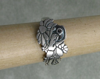 Fairy silver and sapphire flower garden ring DTPD PMC
