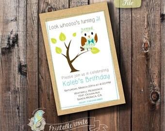 Printable Birthday Invitation, Personalized birthday party Invite, Digital invite, DIY, Owl theme