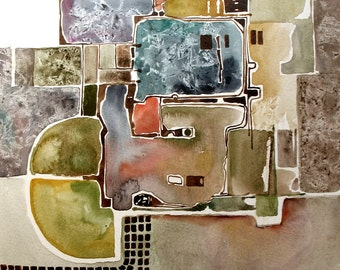 Original Watercolor Painting - Landscape  - Abstract painting - Rustic Street