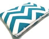 iPad Mini Case, iPad Mini Sleeve, Samsung Galaxy Tab Case, Amazon Fire HD Case, Amazon Fire Kids, Padded Zipper Case, Blue Chevron Fabric