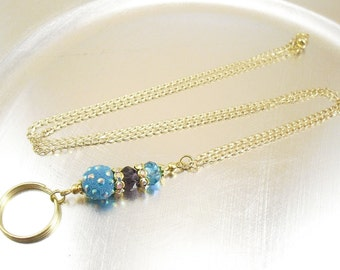Petite Blue and Purple Crystal Glass Oval Link Gold Chain or Brown Leather Cord ID Lanyard, Badge Holder, Key Chain Necklace