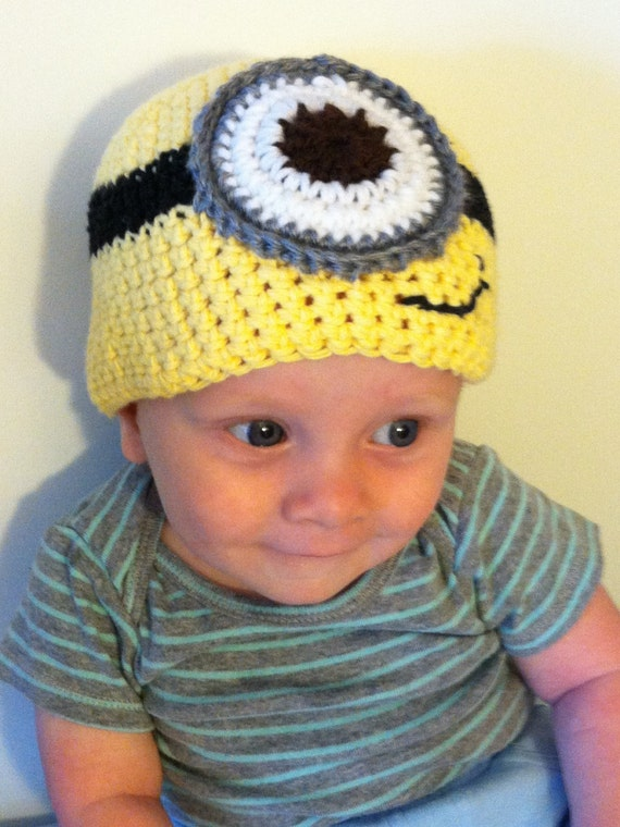 Crochet Hat Pattern For 8 Month Old : Crochet Minion Baby Hat 6-12 Month Old Baby Hat by ...