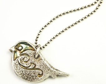 Silver Bird Pendant Bird Charm Bird Necklace Recycled Fine Silver Bridesmaid Necklace Songbird Chickadee