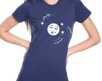 moon t-shirt - women's t-shirts - vintage t-shirt - I Love You TO The MOON and BACK - women's storm blue crew neck vintage love t-shirt
