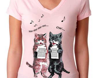 cat - cat shirt - cat tshirt - cat gifts - cat lover gift - cat lady - cat lover - womens tshirts - animal shirt - SINGING CATS -sport vneck