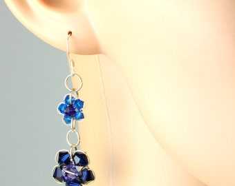 Royal Blue Purple Handcrafted Swarovski Crystal Flower Floral Dangly Sterling Silver Earrings