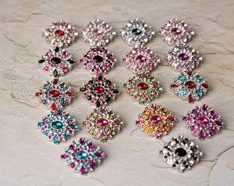Acrylic Rhinestone Buttons - 5 - You Choose - Madeline Button - 30mm - Plastic Buttons - Acrylic Buttons