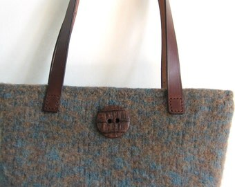 Camel and Teal Purse Wool Hand Knitted Felted Custom Lined