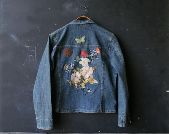 Vintage denim jacket embroidered with butterflies and flowers